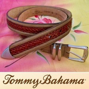 "Tommy Bahama 38"" Two-Tone Woven Leather Belt"